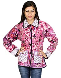 Rajrang Womens Cotton Jacket -White, Purple -Medium