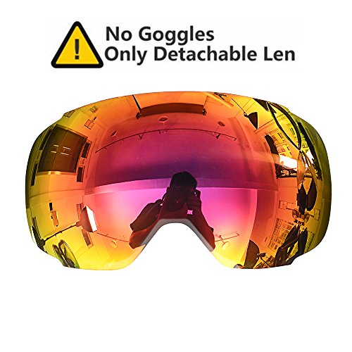 OutdoorMaster Ski & Snowboard Detachable Dual Layer Anti-Fog Goggle Lens Only ( VLT 10% REVO Red Lens with Free Carrying Pouch )