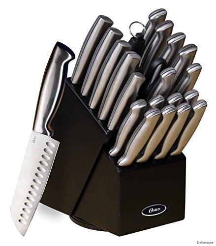Oster Baldwyn 22 Pc Kitchen Cutlery Knife Knives Set Stainless Steel Block Black
