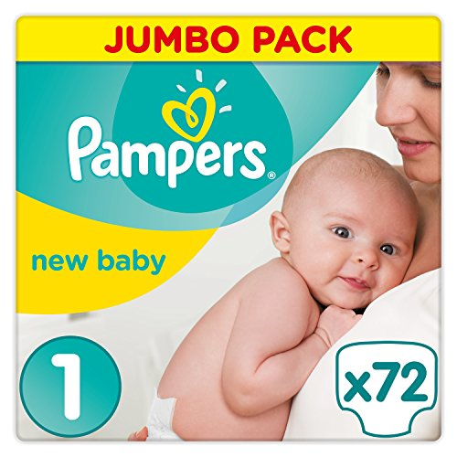 Pampers Premium Protection Nappies New Baby Jumbo Pack - Size 1, Pack of 72