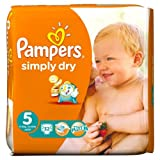 Pampers Simply Dry Nappies Size 5 Essential Pack 32 per pack case of 1