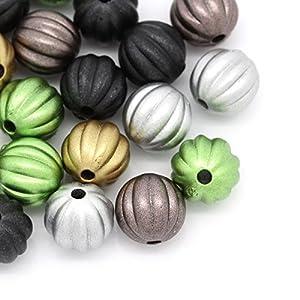 Housweety 300 Mix Acryl Spacer Perlen Beads Kuerbis Streifen 10mm