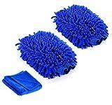 Mikrofaser Waschhandschuh auto Handschuhe Premium Qualität Xpassion 2 Stück Felgenhandschuhe Reinigungstuch Auto-Reinigungstuch sowie Poliertuch für Auto Motorrad Reinigung & Auto Details. (Blau)