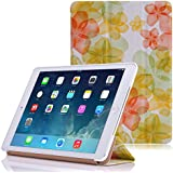 Apple iPad Air 2 Case - MoKo Ultra Slim Lightweight Smart-shell Stand Cover Case for Apple iPad Air 2 (iPad 6) 9.7 Inch iOS 8 Tablet, Floral GREEN (with Smart Cover Auto Sleep / wake)