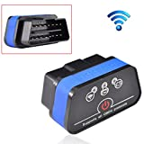 iKKEGOL iCar 2 Mini OBD2 OBD II WiFi Car Diagnostic Scan Tool for IOS iPhone iPad PC with Switch Auto Sleep(Black+Blue)