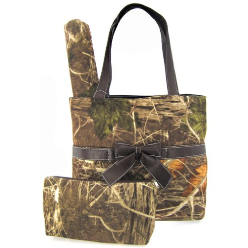 Soft Velvety Camo Diaper Bag Tote Purse 3 Piece Set w/ Changing Pad Camouflage (brown)