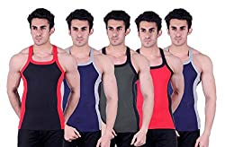 Zimfit Superb Gym Vests - Pack of 5 (BLK_BLU_GRN_RED_BLU_85)