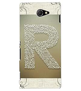 """ColourCraft Alphabet """"R"""" Design Back Case Cover for SONY XPERIA M2"""