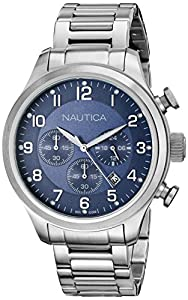 Nautica Men's N17664G BFD 101 CHRONO Analog Display Quartz Silver Watch