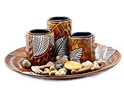 Wooden Leaf Motif Trio Set Tealight Candleholder Tabletop Candle Holders