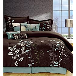 Legacy Decor 7-pcs Embroidered Microfiber Comforter Set Brown, Aqua, Green, White Queen Size