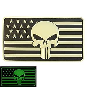 3D Glow GITD Punisher USA Drapeau PVC Gomme Velcro Écusson Patch
