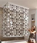 Eck Duschrollo Mosaik Grau