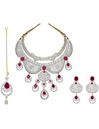 Pushpam Arja Collection Multi Colour Gold Silver Brass American Diamonds Necklace For Women