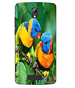 Case Cover Bird Printed Green Soft Back Cover For LYF WIND 3