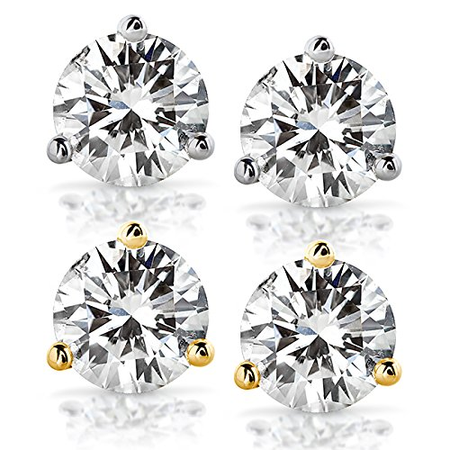 Round Moissanite Stud Earrings in 14K White or Yellow Gold (5mm-8mm)
