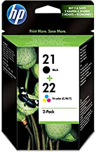 HP 21 & 22 - Cartucho de tinta original, negro, cian, magenta, amarillo (pack de 2)