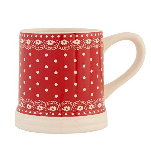 6CE0123R Becher Tasse Rot Punkte
