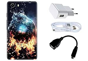 Spygen Micromax Q372 unite 3 Case Combo of Premium Quality Designer Printed 3D Lightweight Slim Matte Finish Hard Case Back Cover + Charger Adapter + High Speed Data Cable + Premium Quality OTG