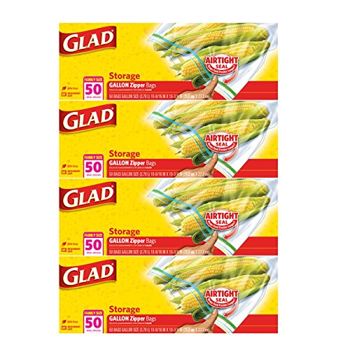 Glad Zipper Gallon Food Storage Bags, 50 Count (Pack of 4) Packaging May Vary (Glad Storage compare prices)