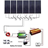 ECO-WORTHY 900W 24V Off Grid Solar Panel Kit:6pcs 150W Poly Solar Panels+Solar Charge Controller+1500W Pure Sine Wave Inverter+Solar Cable+MC4 Branch Connectors+Solar Panel Mounting Brackets (Tamaño: 6pcs 150w poly solar kit with inverter)