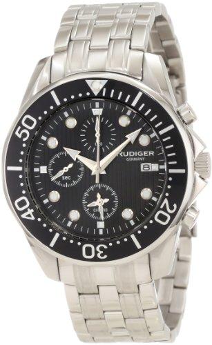 Rudiger Men's R2001-04-007 Chemnitz Black IP Rotating Bezel Black Dial Chronograph Watch