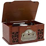 Electrohome Winston 3-in-1 Vintage Classic Turntable Real Wood Stereo System with AM/FM Radio, CD & Full Size Record Player - EANOS501