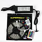 SUPERNIGHT 32.8ft 10M Non-waterproof Flexible Strip 600leds Color Changing RGB SMD5050 LED Light Strip Kit RGB 5M +24Key Remote+24V 5A Power Supply