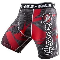 Hayabusa Men\'s Metaru 47 Silver Compression Shorts MMA Black/Red Large