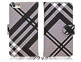 アイフォン6【iPhone6】 チェック 生地 PU手帳 手帳型 ブラック スマホ ケース スマホ カバー スマートフォンケース 【iphone6-ki0004-b】【IS.MOELLEUX】