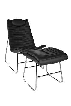 CLP ergonomischer Relax-Sessel PRIMUS mit Fußhocker, 5 cm dicke Polsterung (aus bis zu 3 Farben wählen) schwarz