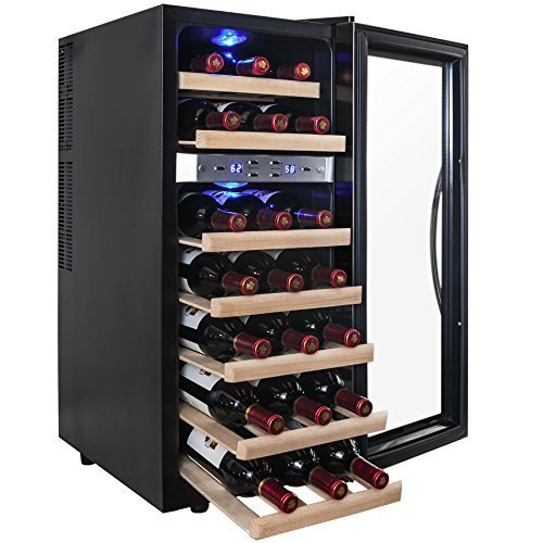 AKDY 21 Bottle Dual Zone Thermoelectric Freestanding Wine Cooler Cellar Chiller Refrigerator Fridge Quiet Operation with Wooden Shevles (Wine Fridge Parts compare prices)