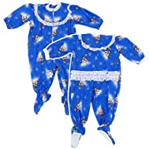 Blue Snowman Classic Christmas Footed Pajama for Baby Girls 12Months