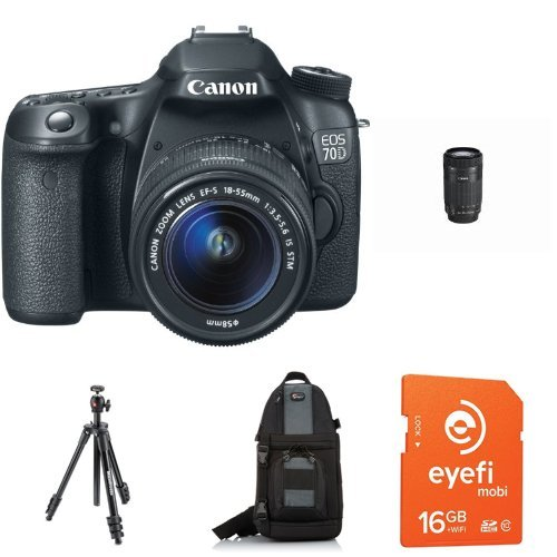 Canon EOS 70D with 18-55mm STM and 55-250mm STM Lenses + Eye-Fi Memory Card, Bag, Battery and Tripod