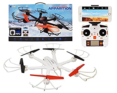 Ei-Hi S19R 2.4GHz 4 Channel 6 Axis Gyro Remote Control RC UFO Hexacopter Drone with HD Aerial Camera and FPV Images Transmission, White