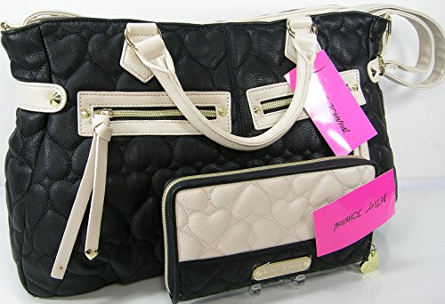 Betsey Johnson Purse Tote Bag & Matching Wallet Set 2 Piece Lot Puffy Hearts Black & Bone front-1078040