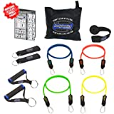 Bodylastics 11 pcs Resistance Bands Set *BASIC TENSION with 4 Stackable anti-snap exercise tubes, Heavy Duty components, carrying case, and printed instructions for the top muscle building exercises