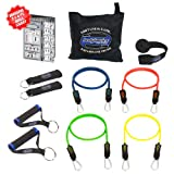 Bodylastics 11 pcs Resistance Bands Set *BASIC TENSION with 4 Stackable anti-snap exercise tubes, Heavy Duty components, carrying case, and FREE 3 month access to over 2000 full length resistance bands workout videos, from Pilates to MMA
