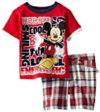 Disney Boys 2-7 2 Piece Knit Pullover And Woven Short, Red, 12