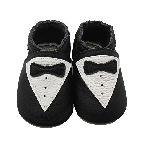 Sayoyo Baby Infant Toddler Black Tie Soft Sole Leather Shoes 0-6months Black
