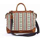 Tote Bags, Berchirly Ethnic Style Ladies Embroidered Canvas Leather Shoulder Bag
