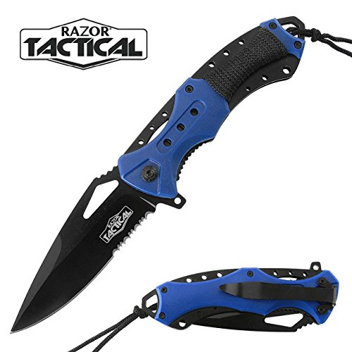 Spring Assisted Pocket Knives with ABS Handle and Clip By Tactical Razor (Blue)