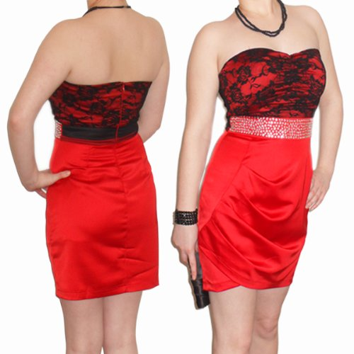 Sexy Womens Ladies Strapless With Flash Beads Dress 8-10 Small Red Cocktail Pencil Evening Party Dress Clubbing Prom *NEW*