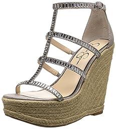 Jessica Simpson Women\'s Adelinn Espadrille Wedge Sandal, Gunmetal, 9.5 M US