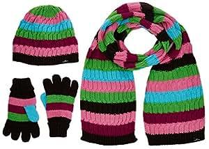 Black Canyon Strickmütze mit Schal und Handschuhen 3 teiliges Winterset, pink gestreift, S/M, BC1109-PI-M