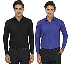 FOCIL Black & Blue Formal Wear Combo Shirt For Men (Pack of 2)