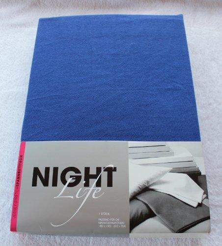 NightLife Jersey Spannbettlaken Farbe dunkleres blau Größe 180 x 190 bis 200 x 200 cm Spannbettuch Spannlaken mit Rundumgummi 100% Baumwolle