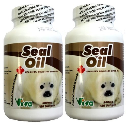 Vita/Viva Naturals 100% Pure Harp Seal Oil, 500Mg,180 Softgels Combo Pack (2 Bottles)