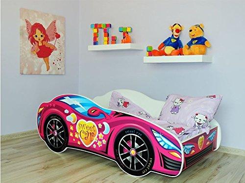Lit auto rose+ sommier + matelas 140x70 cm