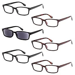 GAMMA RAY READERS 6 Pairs Men and Women Readers with Sun Readers Flexible Spring Hinge Unisex Reading Glasses